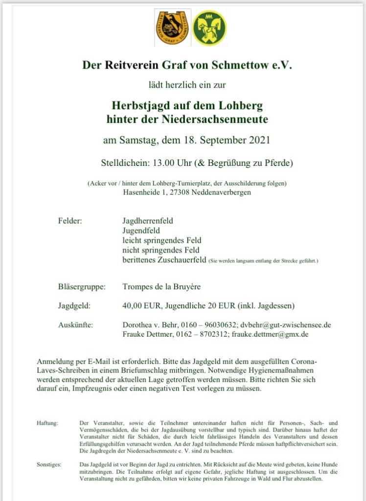 Jagdeinladung Lohberg 2021